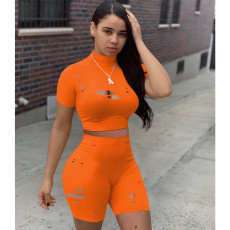 Solid Color Casual Sports Hole Shorts Suit MOY-5229