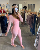 Sexy Solid Color Simple Folds Skinny Low-cut Jumpsuits SMD-5010