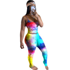 Plus Size Tie Dye Cami Top And Ruched Pants Sets QY-5188