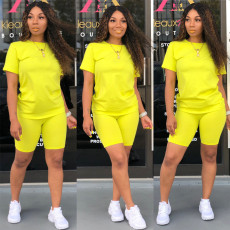 Casual Sports Solid Color T-shirt Shorts Two Piece Set OFN-6380