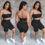 Copy Casual Tube Top Shorts Two Piece Set TR-1028