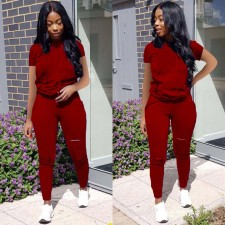 Sports Solid Color Short Sleeves Long Pants Two Piece Set OFN-6388