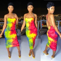 Tie Dye Print Backless Slim Midi Slip Dress BGN-058