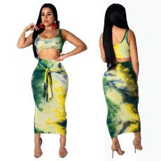Tie Dye Print Tank Top Long Skirt 2 Piece Sets YFS-3508