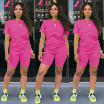 Copy Solid Tracksuit Short Sleeve Two Piece Shorts Set TE-3779