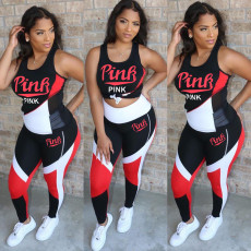 Pink Letter Print Sleeveless Fitness Two Piece Sets OFN-6376