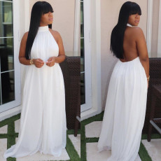 Plus Size Mesh Halter Backless Loose Jumpsuits FNN-8510