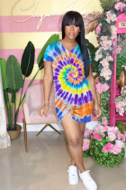Tie Dye Print Ruched V Neck Irregular Mini Dress OYF-8206
