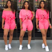 Solid Off Shoulder Two Piece Shorts Set XMY-9163