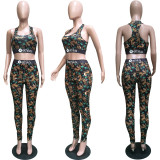 Casual Printed Tank Tops Pants Fitness 2 Piece Sets BGN-088