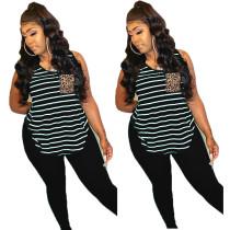 Plus Size Striped Sleeveless Two Piece Pants Set BLI-2062