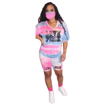 Letter Print T-shirt Shorts Two Piece Set Without Mask YIM-8105