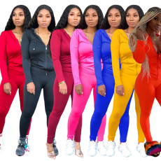 Solid Zipper Hoodies Tight Pants Two Piece Sets XMY-9179