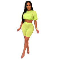 Casual Solid Color Grid Two Piece Set ABF-3013