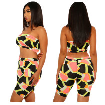 Geometric Print Tube Top And Shorts 2 Piece Sets YIY-5903