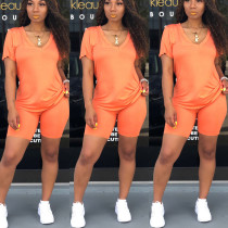 Solid V Neck T Shirt And Shorts Two Piece Sets SHA-6073
