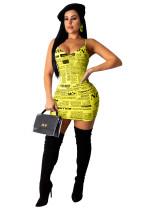 Fashion Sexy Newspaper Print Suspender Dress ABF-3017