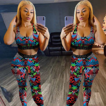 Colorful Printed Tank Top+Pants Fitness 2 Piece Sets BGN-085