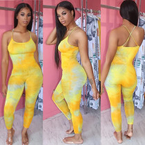 Gradient Backless Cross Strap One Piece Jumpsuits BGN-091
