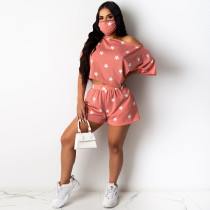Plus Size 4XL Star Print Two Piece Shorts Set Without Mask YIY-5193