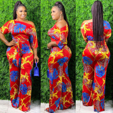 Sexy Half Sleeve Printed One Piece Jumpsuits  SH-3800