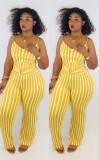 Plus Size 4XL Sexy Stripe Suspenders Jumpsuits LM-8162