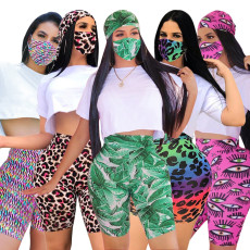 Casual T Shirt Printed Shorts Two Piece Sets With Mask SH-3796
