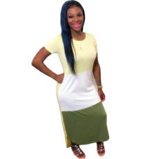 Short Sleeve Stitching Irregular Long Dress MUM-5042