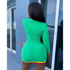 Plus Size 4XL V Neck Long Sleeve Mini Dress YIY-5192