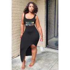 Plus Size Letter Print Sleeveless Backless Maxi Dress SHE-7185