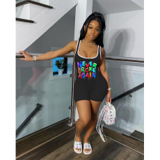 Plus Size Letter Print Sleeveless One Piece Rompers SHE-7182