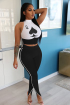Plus Size 4XL Poker Print Vest Long Pants Skinny Sports Suit NIK-146
