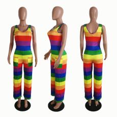 Plus Size Rainbow Stripe Sleeveless Loose Jumpsuits SHE-7181