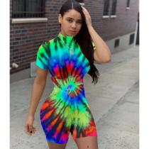 Sexy Tights Tie-dye Print Romper MIL-130