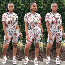Casual Fashion Poker Print T-shirt Shorts Two Piece Set YD-8244
