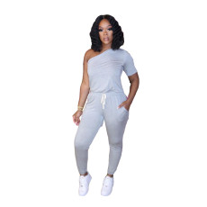 Plus Size Solid One Shoulder One Piece Jumpsuits MTY-6365