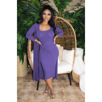 Plus Solid Sleeveless Midi Dress+Long Cloak 2 Piece Sets MTY-6361