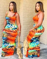 Plus Size Casual Printed Sleeveless Maxi Dress MTY-6355