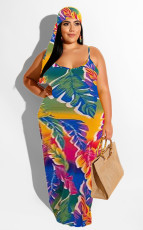 Plus Size Colorful Stripe Spaghetti Strap Maxi Dress NK-8562