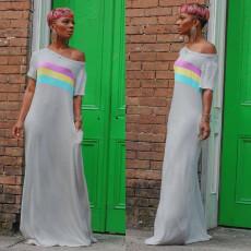 Casual Slash Neck Striped Maxi Dress YM-9217