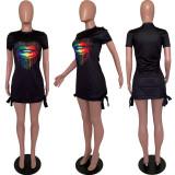 Black Lips Print Short Sleeve Mini Dress ARM-8193