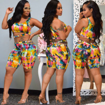 Tie Dye Sleeveless Sexy Two Piece Shorts Set ARM-8196
