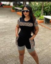 Fashion Casual Leopard Stitching Two Piece Set LP-6229