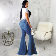 Plus Size Denim Hole Skinny Flared Jeans HSF-2074