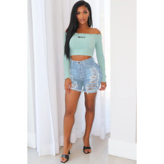 Sexy Denim Ripped Hole Skinny Jeans Shorts HSF-2278
