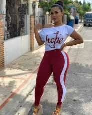 Plus Size Printed T Shirt Long Pants Two Piece Sets BLX-7710