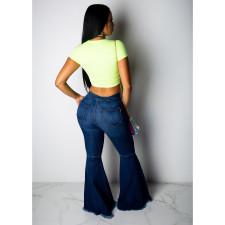 Plus Size Denim Hole Long Flared Jeans Pants HSF-2024