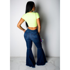 Plus Size Denim Hole Long Flared Jeans Pants HSF-2024