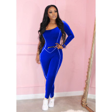 Fashion One Shoulder Long Sleeve Solid Color Jumpsuits MAE-2052