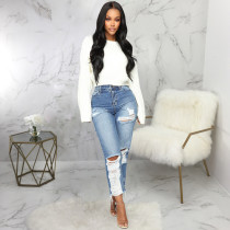 Denim Ripped Hole Inelastic Straight Jeans HSF-2066